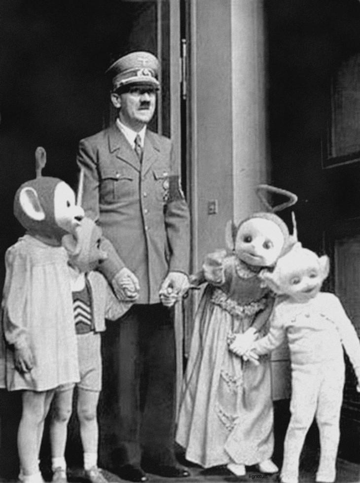 Hitler, los niños y las celebraciones. (Desconozco autor y  fuente de la foto)