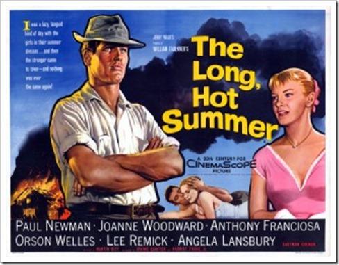 """""""Largo y cálido verano"""", Martín Ritt dirige a Paul Newman y Joanne Woorward para llevar al cine la narrativa de William Faulkner, en los 50 del siglo pasado."""