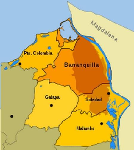 Barranquilla ciudad, y sus alrededores, sobre el Caribe.