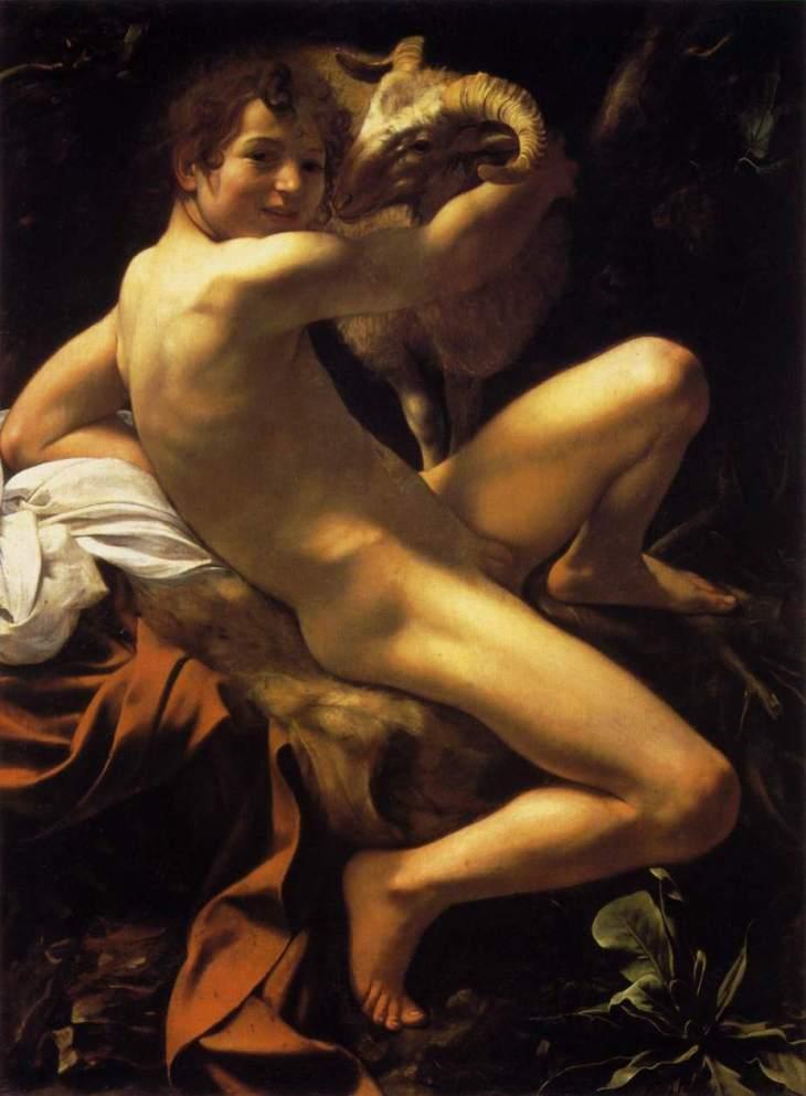 Caravaggio, otro. San Juan Bautista joven (creo), con el carnero.