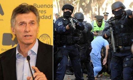 Macri, intendente de Bs. AS. Los policías disparan como si lo hicieran contra peligrosos delincuentes armados. Diario Inforegión.