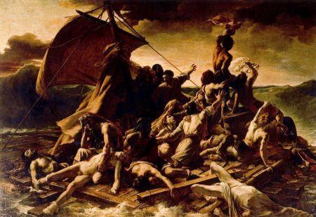 """""""La balsa de Medusa """" (1818), de Theodore Gericualt, uno de los maestros del Romanticismo francés. Si bien retrata a los náufragos moribundos del hundimiento de una nave en 1816, reconoce la herencia de los cuadros anteriores que registran a los enfermos mentales abandonados en una barca a la deriva en el mar, para hacerlos """"desaparecer"""" de las ciudades, costumbre al parecer habitual en toda la Edad Media."""