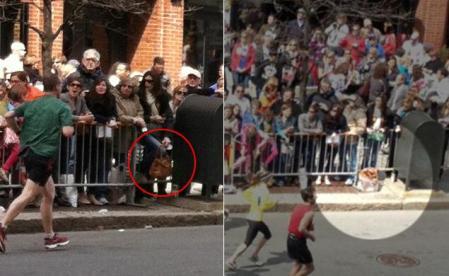 El público y la bolsa con las bombas del atentado en Boston. FOTO EXTRAÑA. Diario USA: http://www.nydailynews.com/