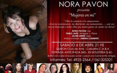Nora Pavón en Quirón, Club de Arte, en Caballito, Buenos Aires, esta noche de sábado 6 ciudad.