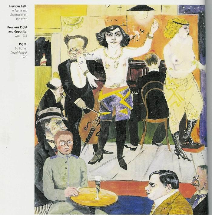 Célebre dibujo-pintura expresionista que da cuenta veraz del verdadero rostro, no suavizado aún por Bob Fosse, de los célebres cabarés De Berlín de los años 20, que reunían a millonarios, intelectuales, artistas, delincuentes y coperas, gatos y putas.